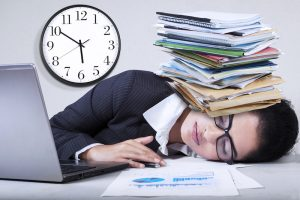 Exhausted Indian Businesswoman Overworked